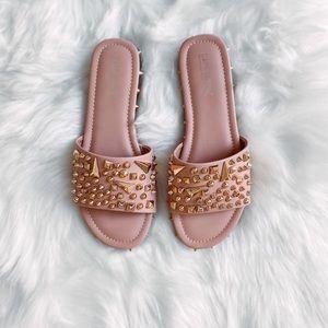 Studded tan slide sandals